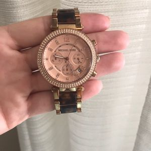 Michael Kors gold, blush and tortoise watch
